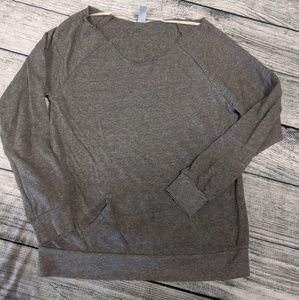 Off shoulder raw edge gray sweater